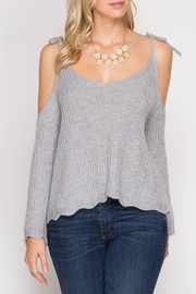 She + Sky Scallop Detail Sweater - Front cropped