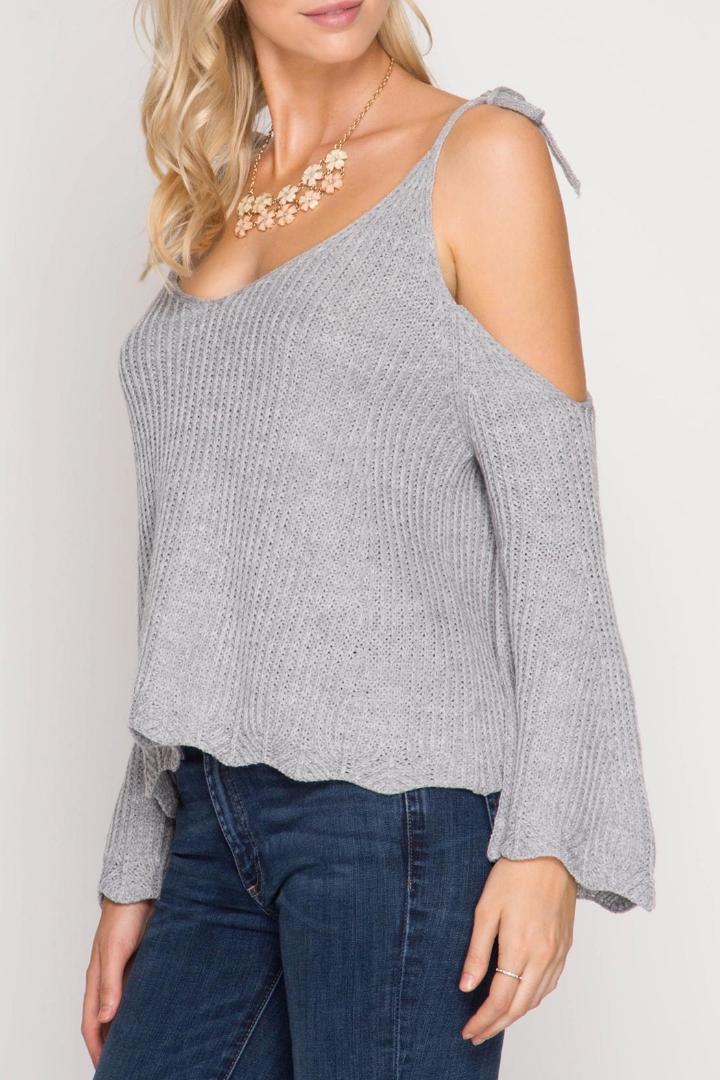 She + Sky Scallop Detail Sweater - Back Cropped Image