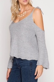 She + Sky Scallop Detail Sweater - Back cropped