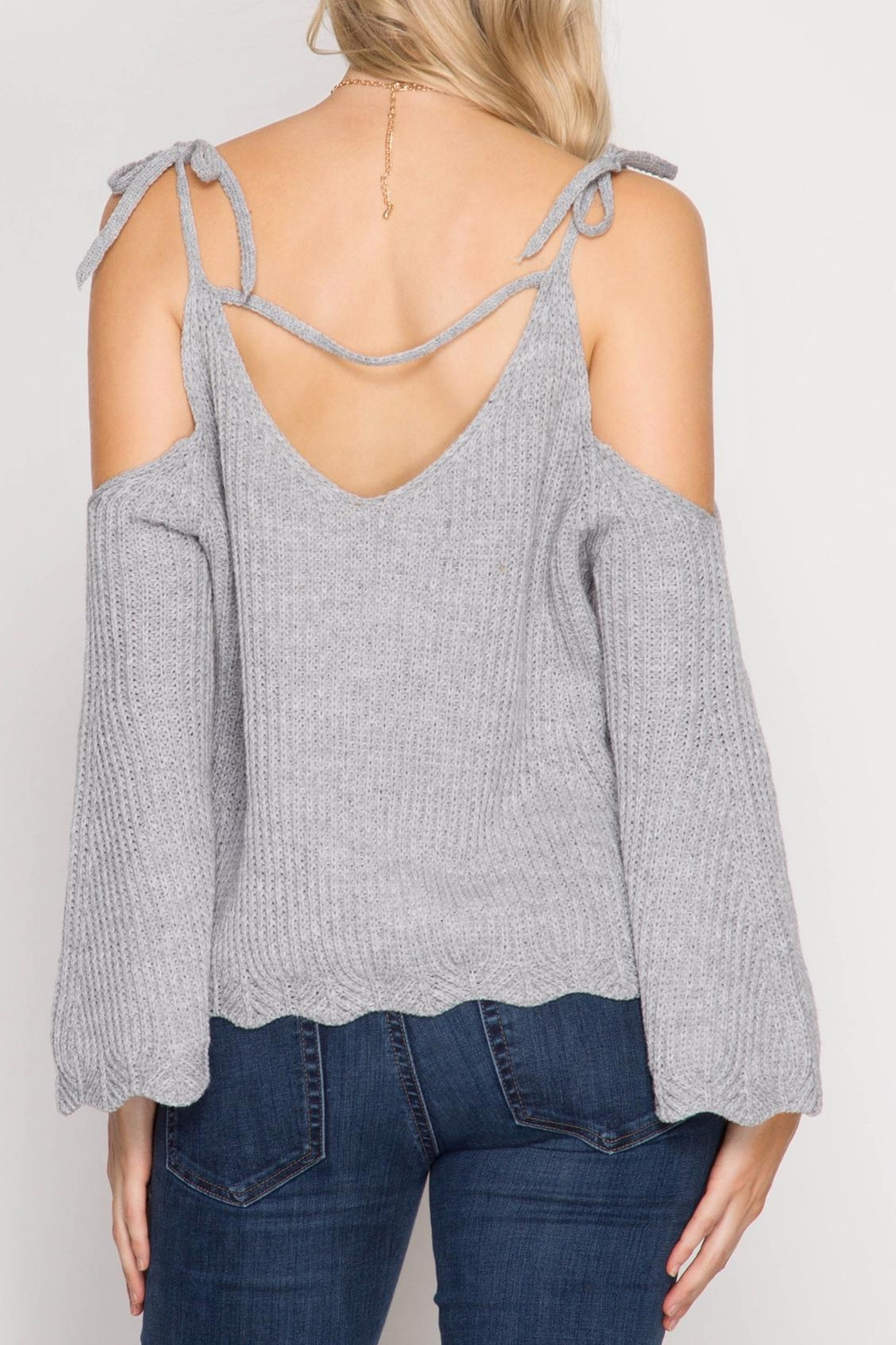 She + Sky Scallop Detail Sweater - Side Cropped Image