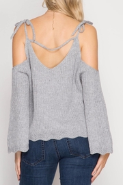 She + Sky Scallop Detail Sweater - Side cropped