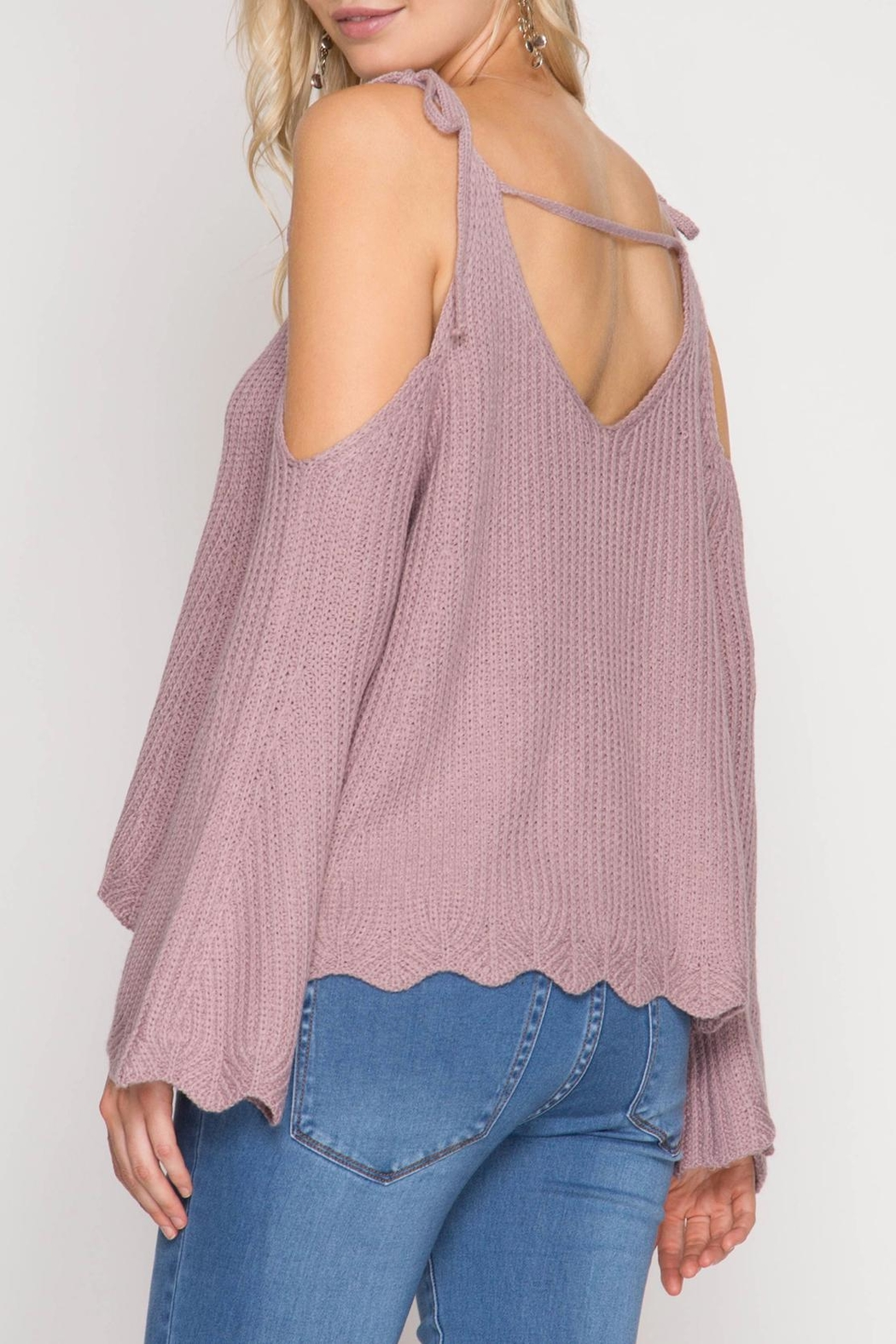 She + Sky Scallop Detail Sweater - Front Full Image