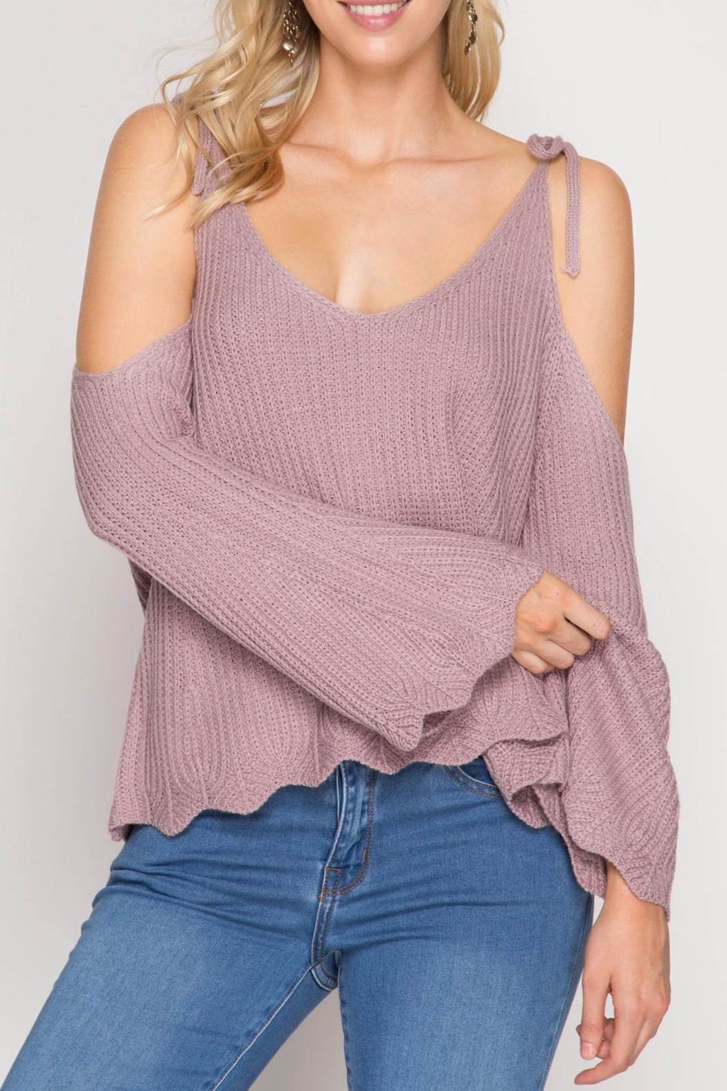 She + Sky Scallop Detail Sweater - Main Image