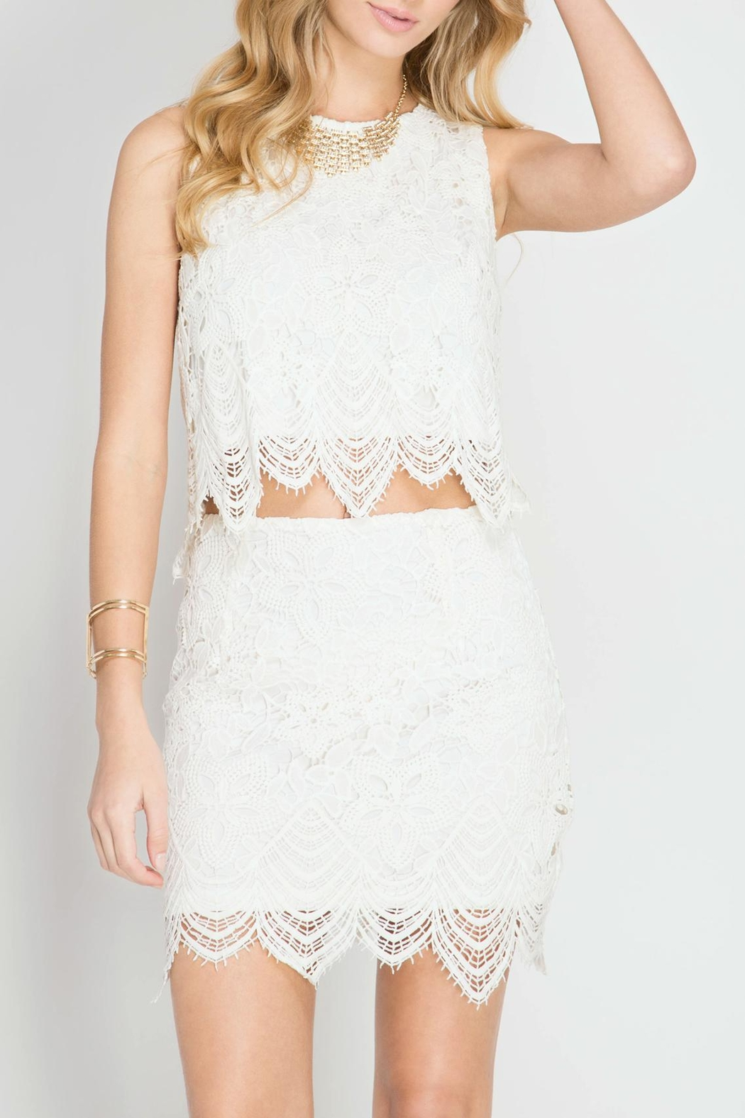 She + Sky Scallop Lace Mini Skirt - Front Full Image