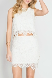 She + Sky Scallop Lace Mini Skirt - Front full body