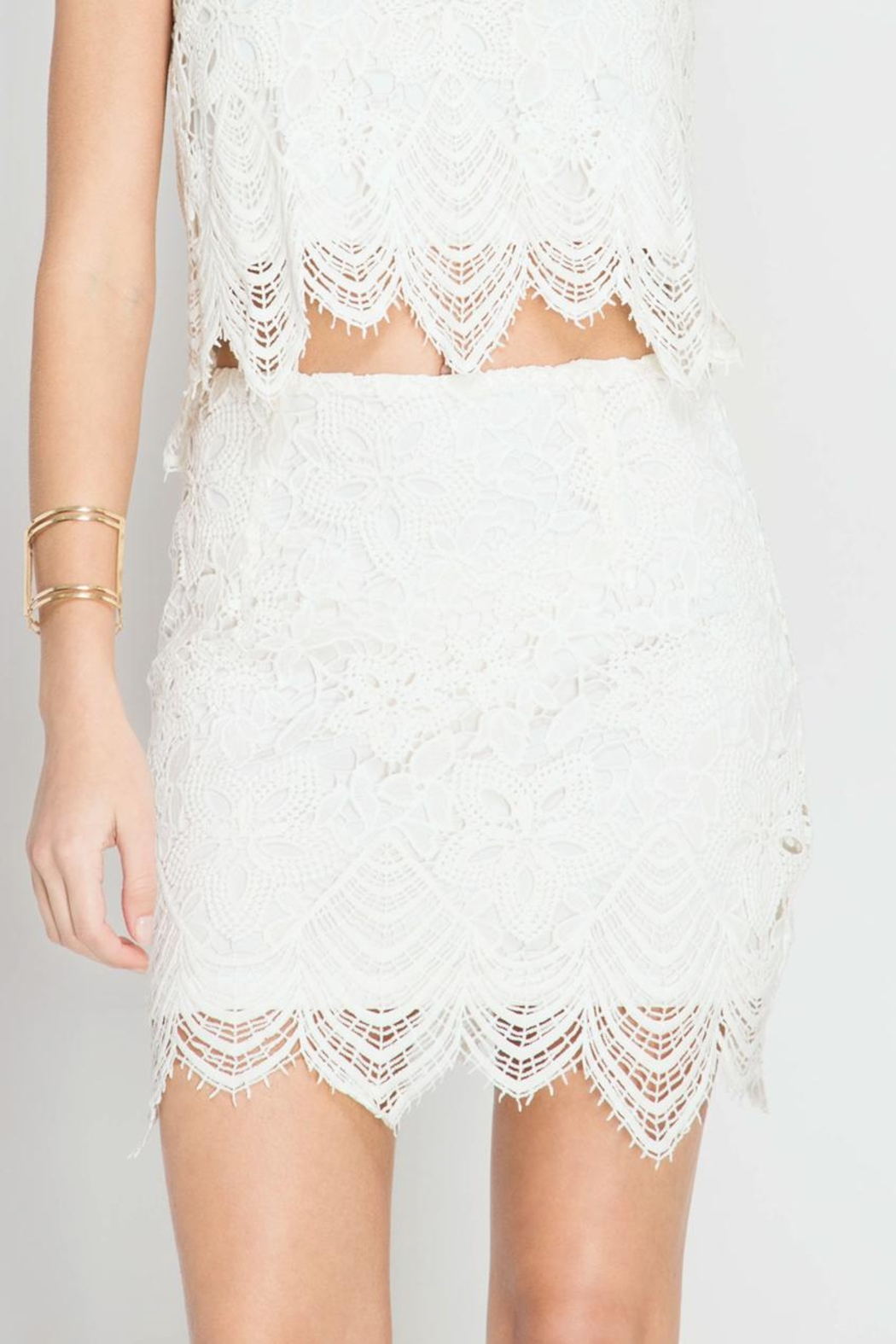 She + Sky Scallop Lace Mini Skirt - Main Image