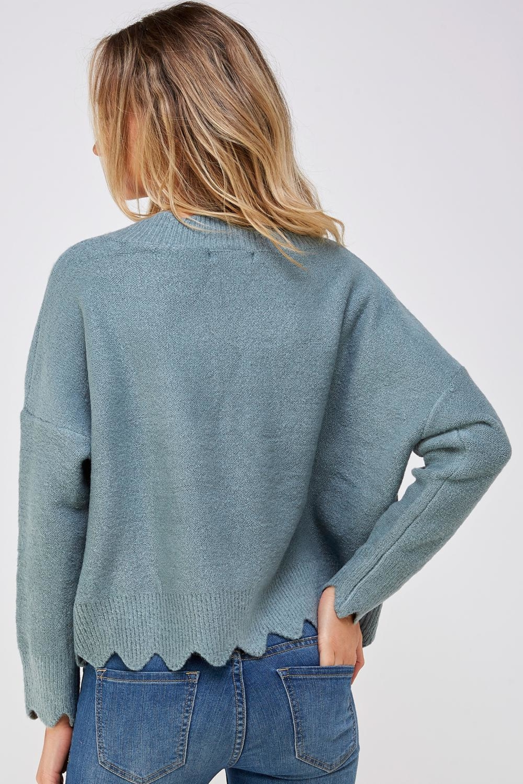 She + Sky Scallop Trim Sweater - Back Cropped Image