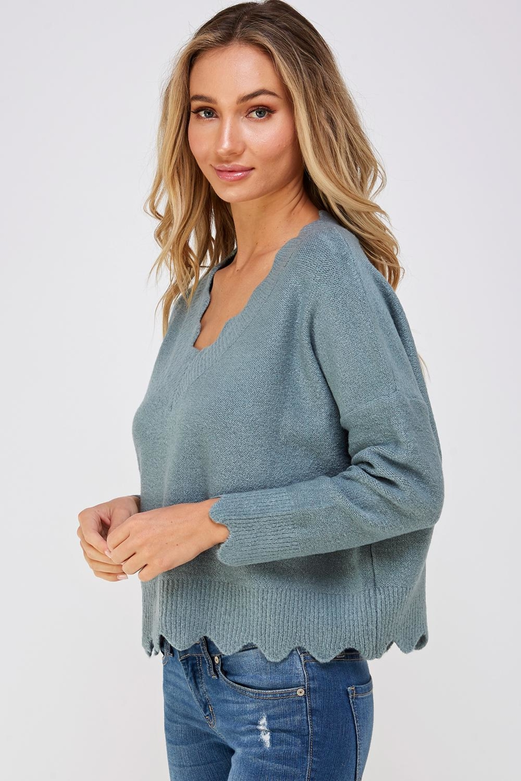 She + Sky Scallop Trim Sweater - Side Cropped Image