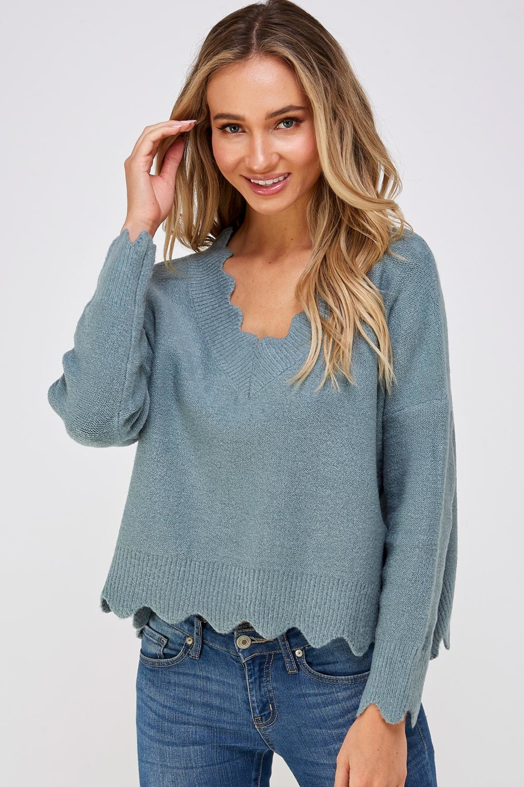 She + Sky Scallop Trim Sweater - Front Full Image