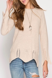 She + Sky Scallop Trim Sweater - Product Mini Image