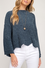 She + Sky Scalloped Chenille Sweater - Product Mini Image
