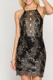 She + Sky Scalloped Embroidered Bodycon-Dress - Product Mini Image