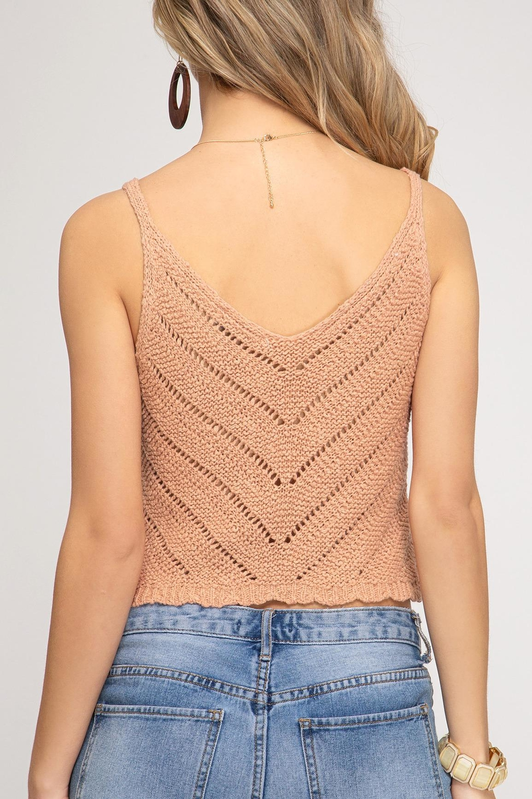 She + Sky Scalloped Knit Cami - Front Full Image