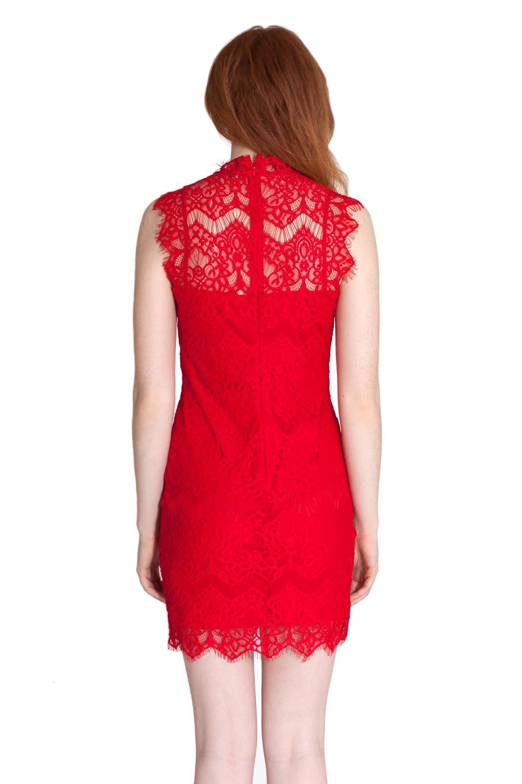 She + Sky Scalloped Lace Dress - Back Cropped Image