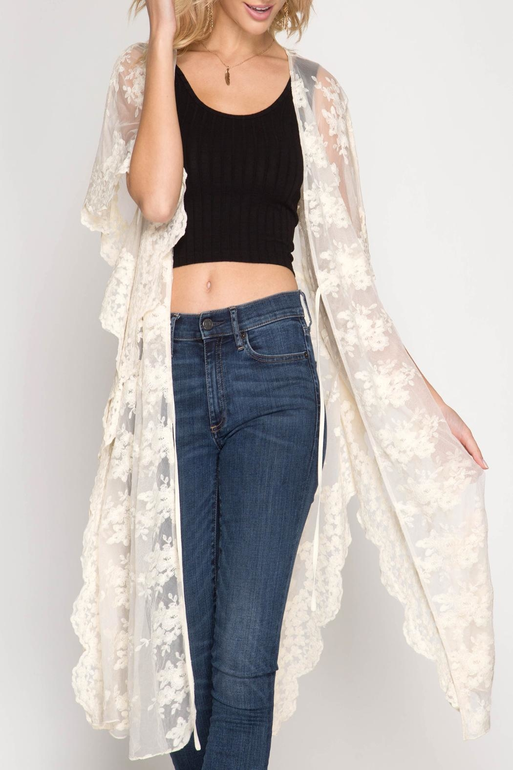 She + Sky Scalloped Lace Kimono - Front Cropped Image