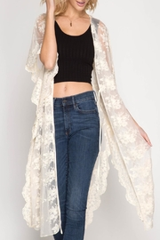 She + Sky Scalloped Lace Kimono - Product Mini Image