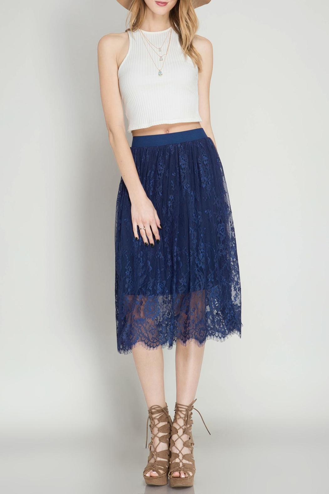 She   Sky Scalloped Lace Midi-Skirt from California by Nadya's ...