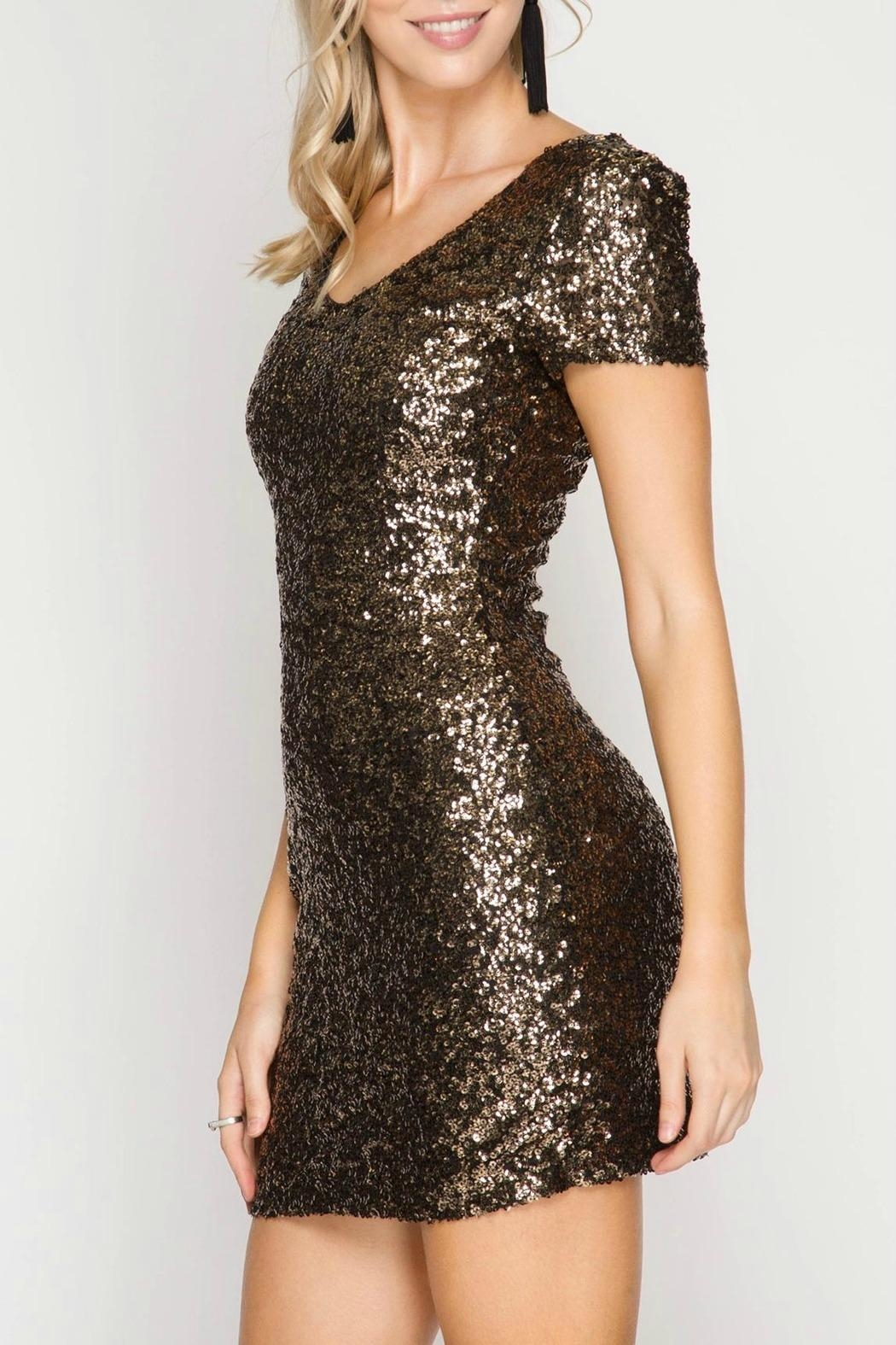 She + Sky Sequin Bodycon Dress - Front Full Image