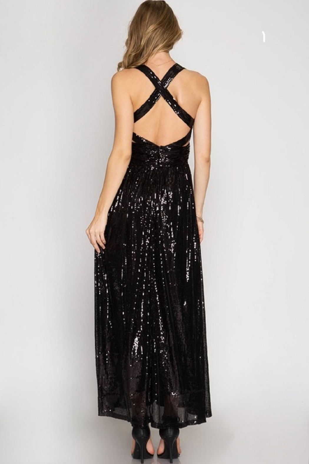 She + Sky Sequin Maxi Dess - Front Full Image