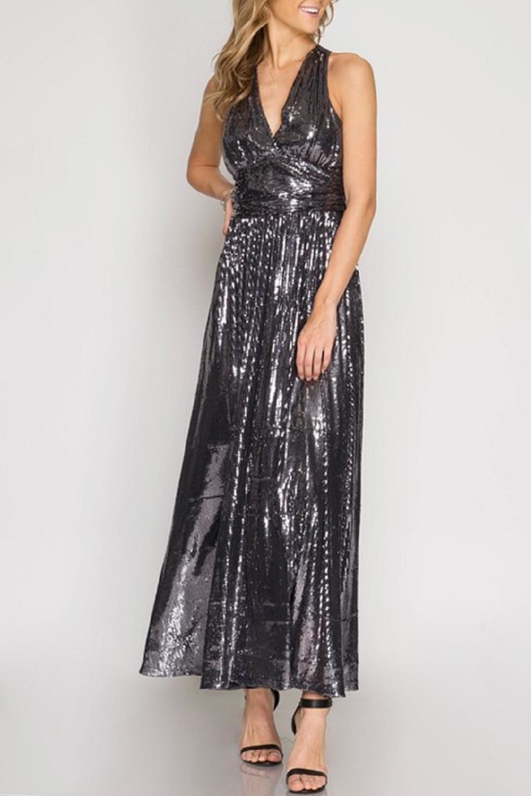 She + Sky Sequin Maxi Dess - Side Cropped Image