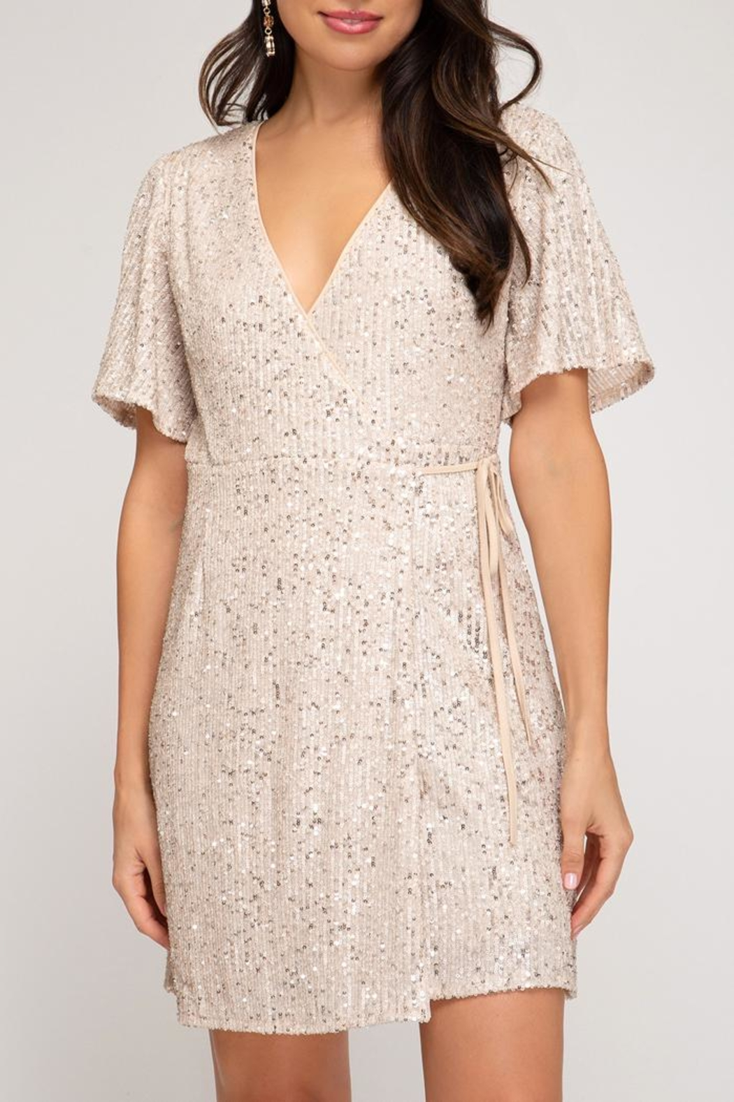 She + Sky Sequin Wrap Dress - Front Cropped Image