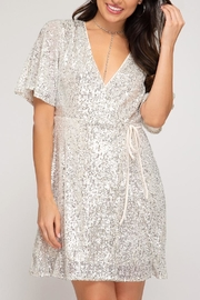 She + Sky Sequin Wrap Dress - Front cropped