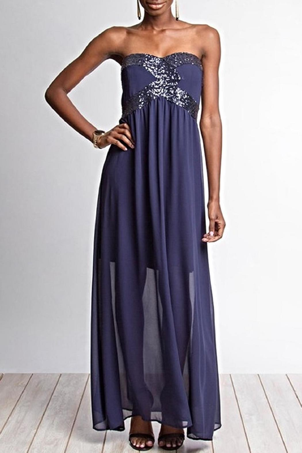She + Sky Sequined Maxi Dress - Front Cropped Image