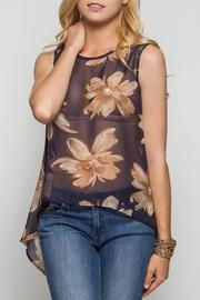 She + Sky Sheer Floral Hi-Lo - Front cropped