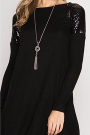 She + Sky Shouder Sequined Sweater-Dress - Front cropped