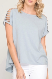 She + Sky Shoulder Cutout Top - Front cropped