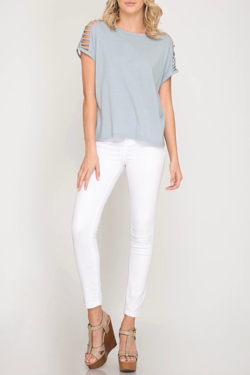 She + Sky Shoulder Cutout Top - Back Cropped Image