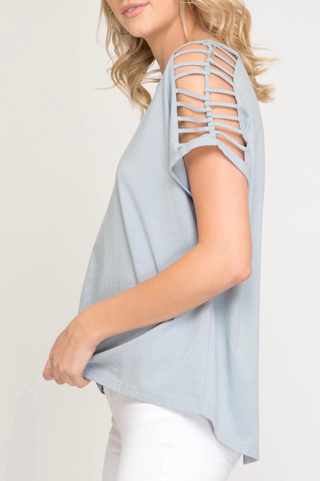 She + Sky Shoulder Cutout Top - Front Full Image