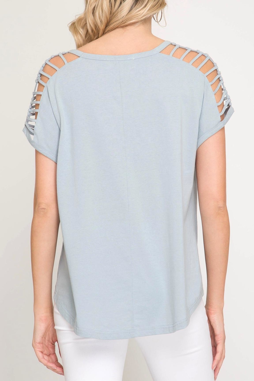 She + Sky Shoulder Cutout Top - Side Cropped Image