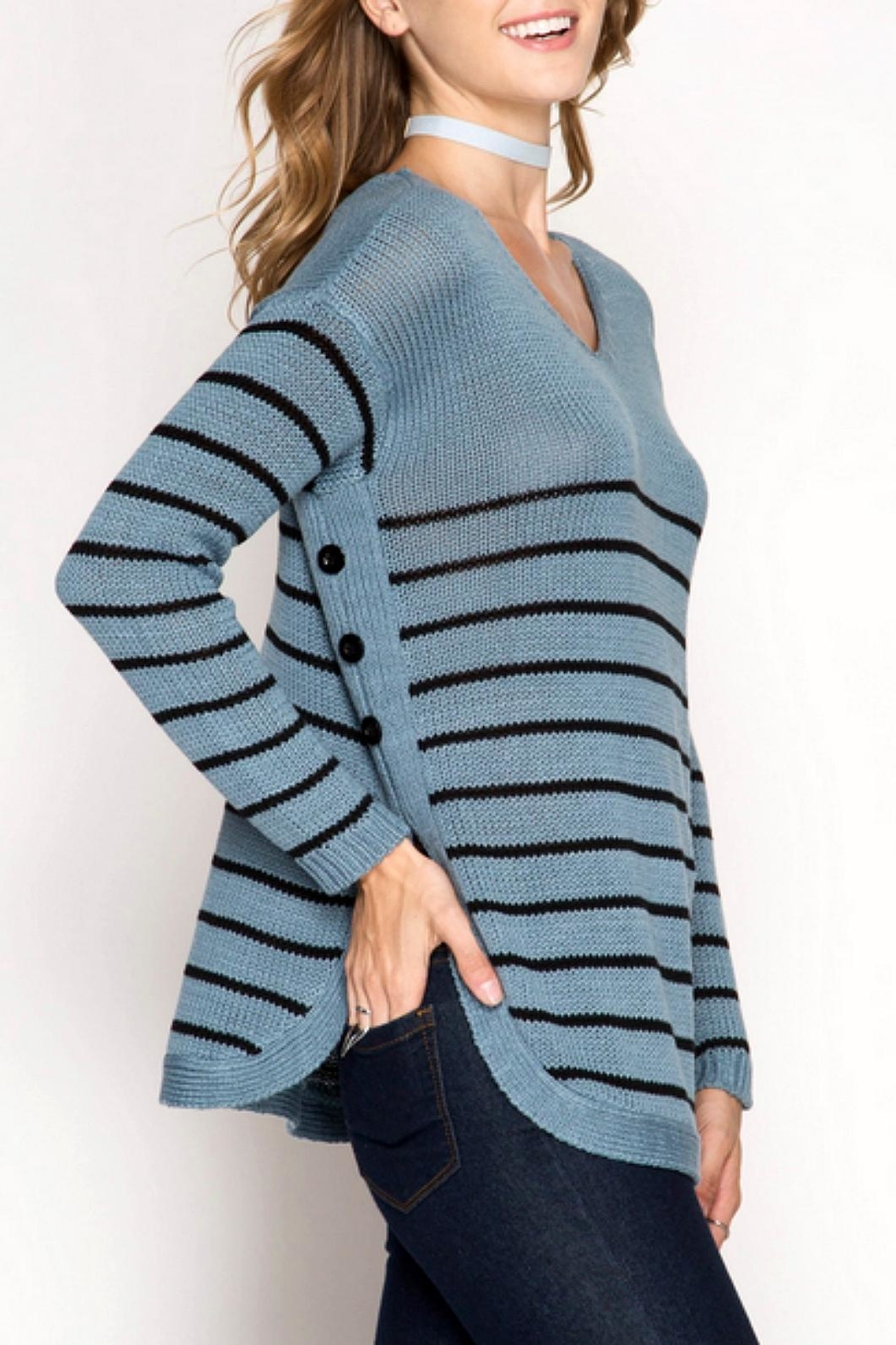 She + Sky Side Buttone Sweater - Side Cropped Image