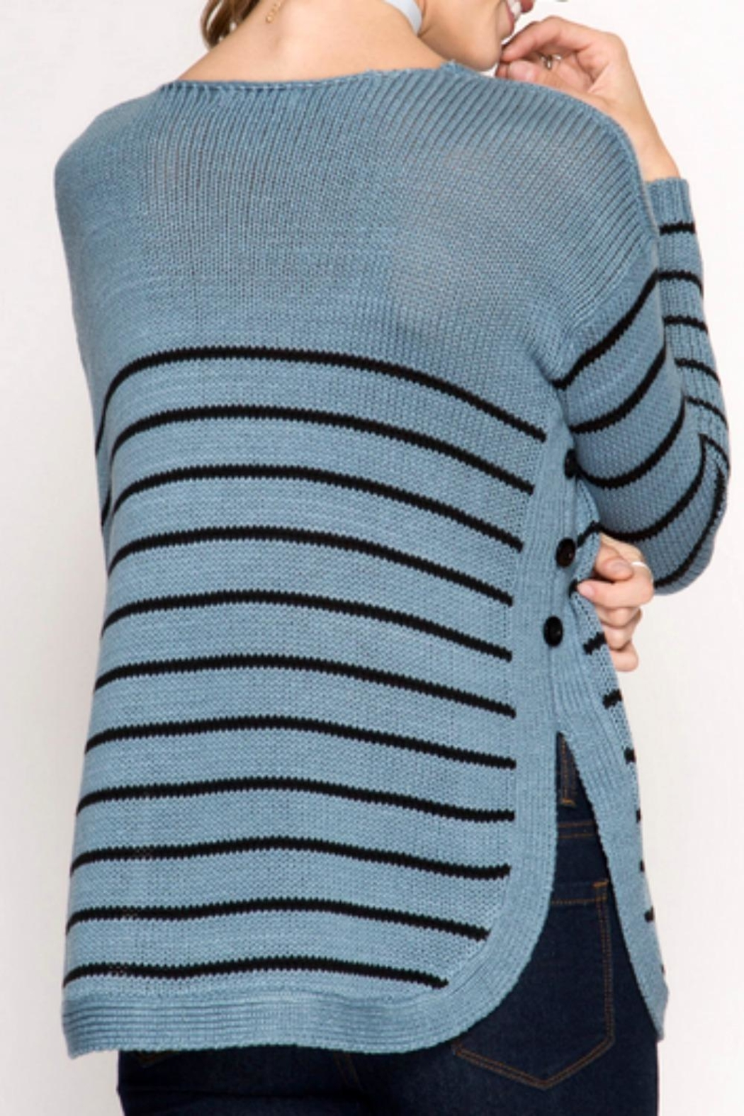 She + Sky Side Buttone Sweater - Back Cropped Image