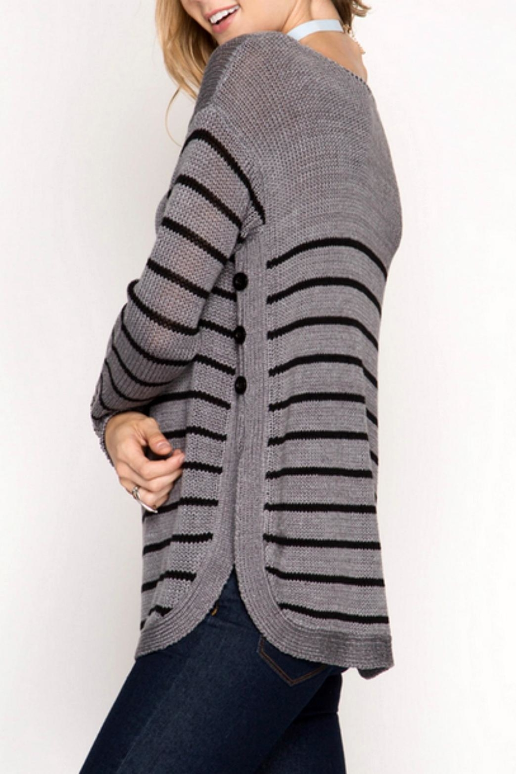 She + Sky Side Buttone Sweater - Front Full Image