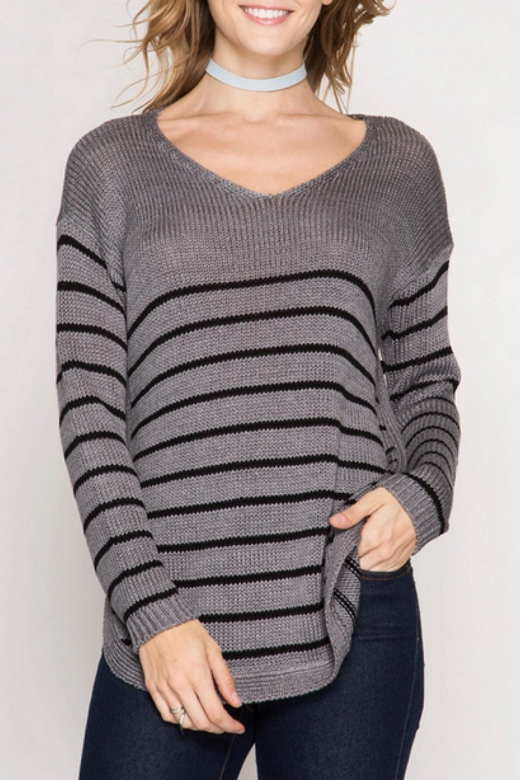 She + Sky Side Buttone Sweater - Front Cropped Image