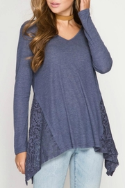 She + Sky Side Lace Top - Product Mini Image