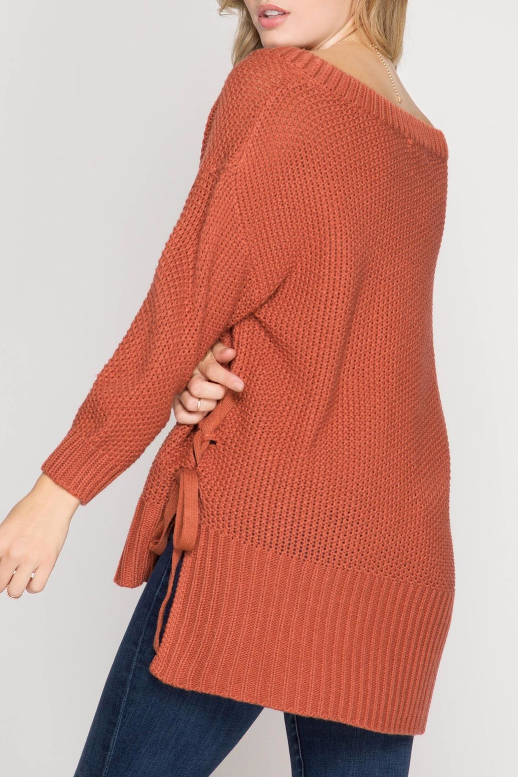She + Sky Side Tie Sweater - Front Full Image