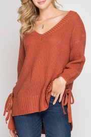 She + Sky Side Tie Sweater - Front cropped
