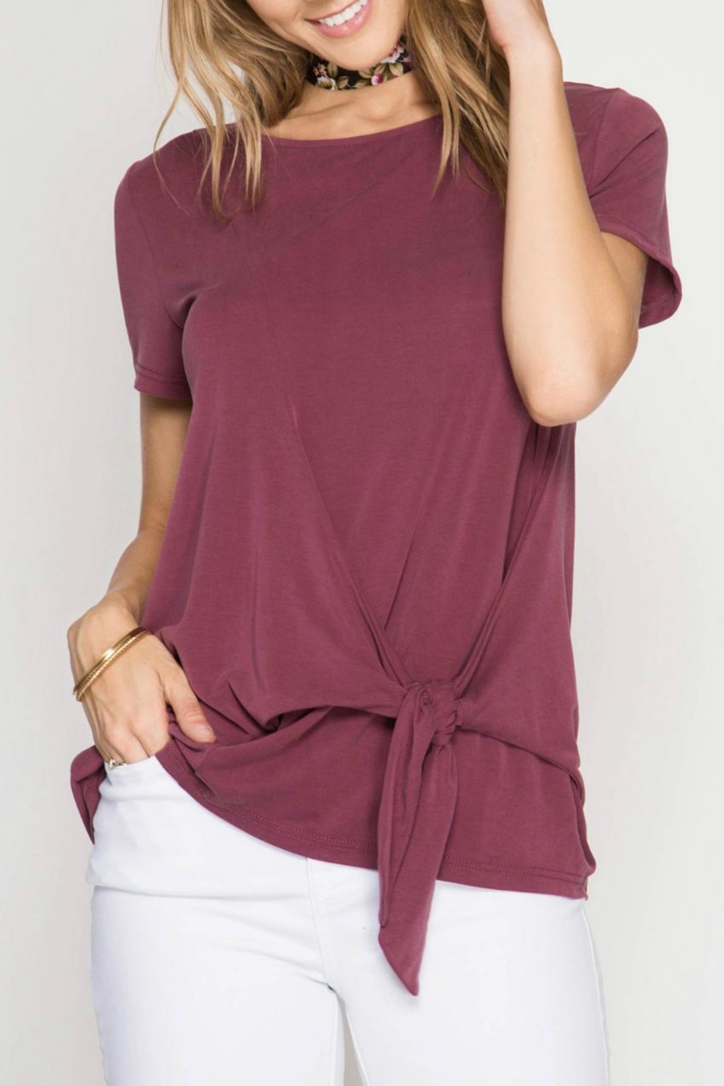 She + Sky Side Tie Top - Front Cropped Image