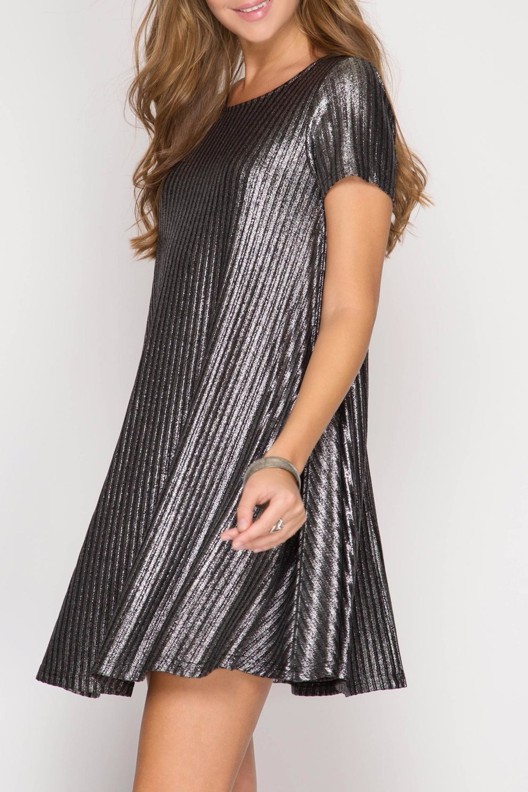 She + Sky Silver Metallic Dress - Front Full Image