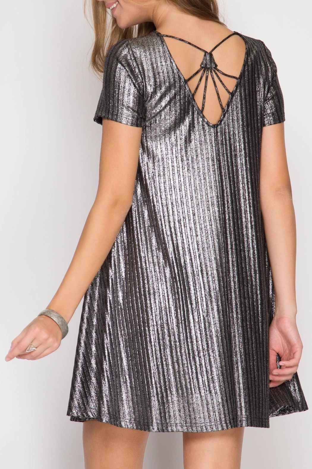 She + Sky Silver Metallic Dress - Main Image