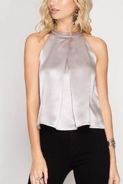 She + Sky Silver Satin Top - Product Mini Image