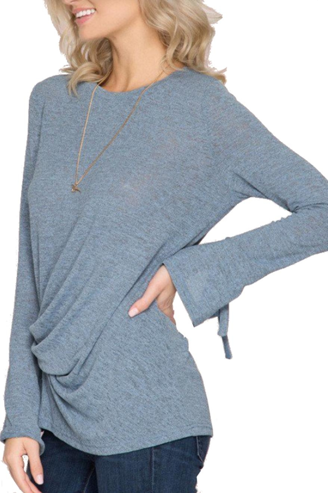 She + Sky Sleeve Detail Top - Front Full Image