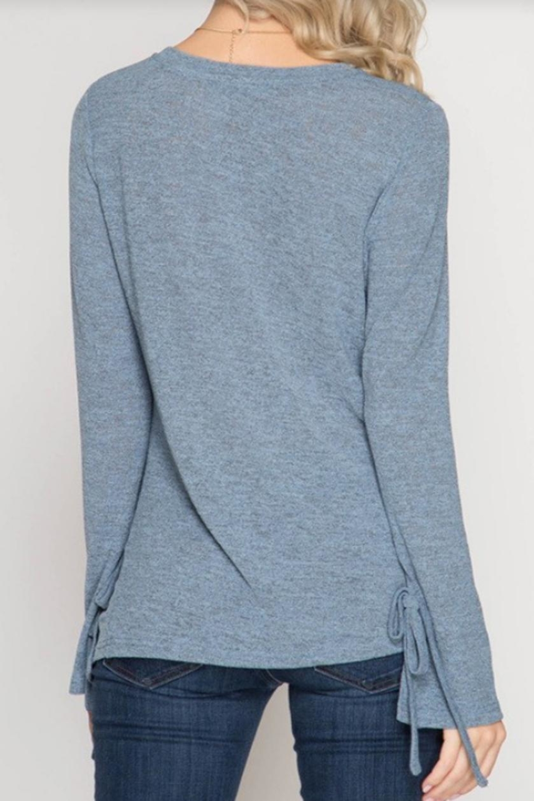 She + Sky Sleeve Detail Top - Side Cropped Image