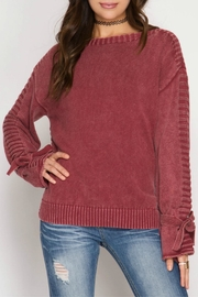 She + Sky Sleeve Tie Sweater - Front full body
