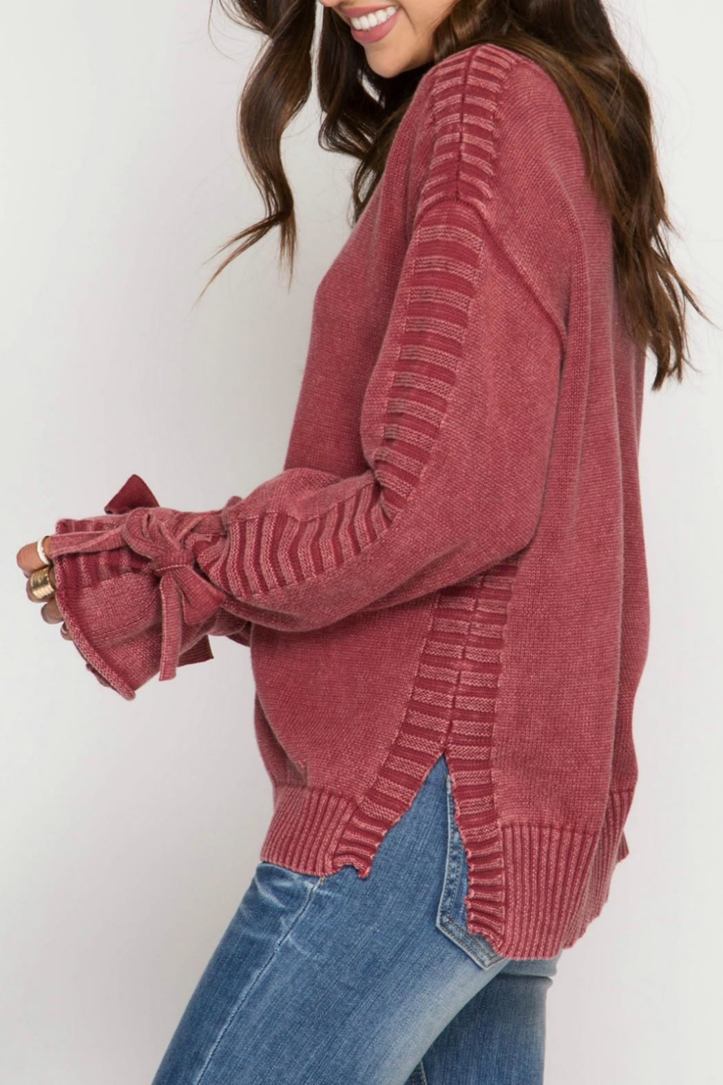 She + Sky Sleeve Tie Sweater - Side Cropped Image
