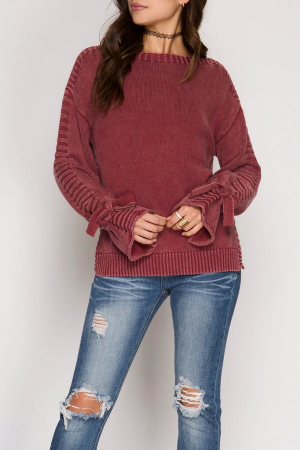She + Sky Sleeve Tie Sweater - Front Cropped Image