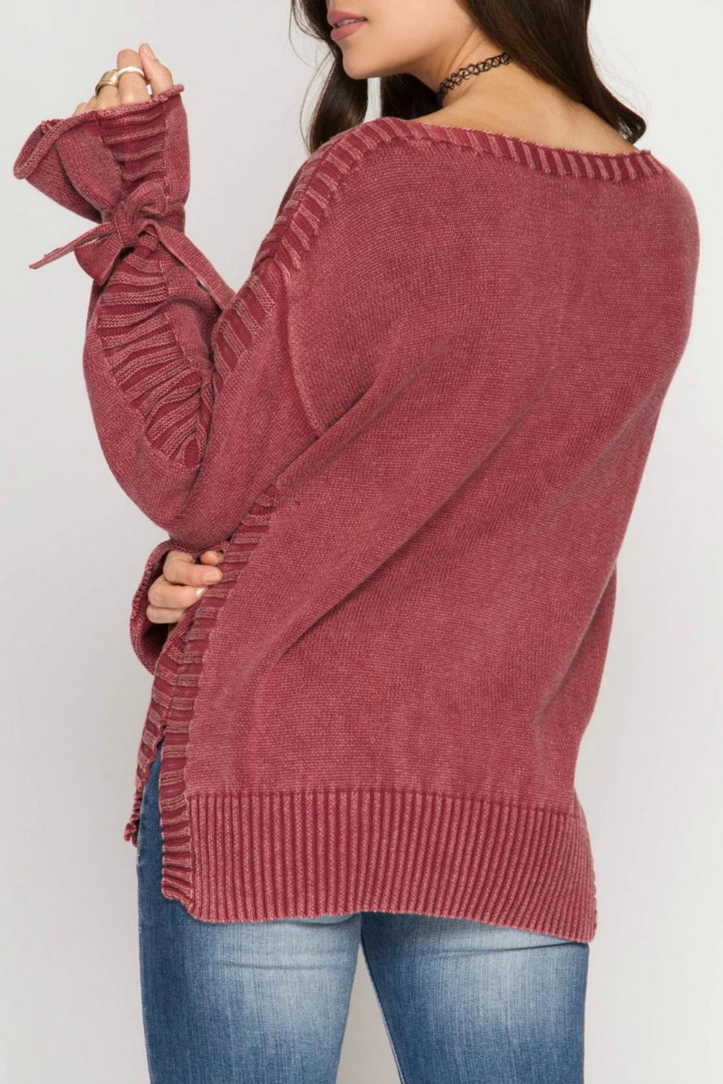 She + Sky Sleeve Tie Sweater - Front Full Image
